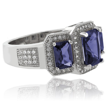 3 Emerald Cut Tanzanite and CZ Sterling Silver Ring