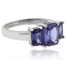 3 Emerald Cut Tanzanite Sterling Silver Ring