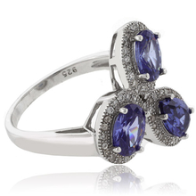 3 Oval Cut Tanzanite Sterling Silver Ring