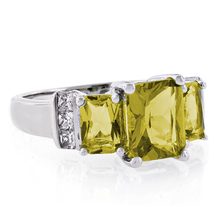 3 Stone Emerald Cut Yellow Citrine .925 Silver Ring