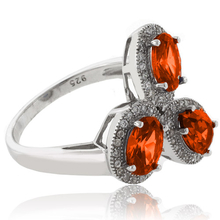 3 Stone Fire Cherry Opal .925 Sterling Silver Ring