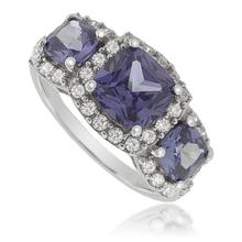3 Square-Cut Tanzanite Ring in .925 Silver