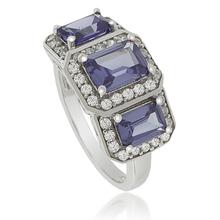 3 Emerald-Cut Tanzanite Ring in .925 Silver