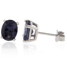 Elegant Oval-Cut Alexandrite Color Change Silver Studs