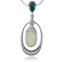 Oval Cut Alexandrine and Oval Shape White Opal  Sterling Silver Pendant