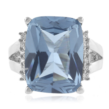 Gorgeous Emerald Cut Aquamarine .925 Silver Ring