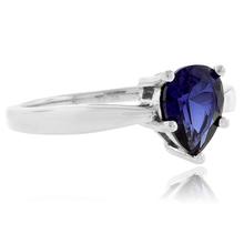 .925 Silver Pear Cut Blue Sapphire Ring