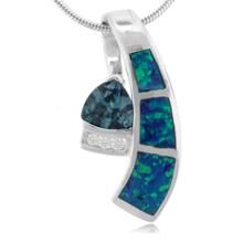 Trillion Cut Alexandrite and Blue Opal .925 Silver Pendant