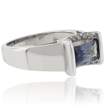 Baguette Cut Color Change Alexandrite Sterling Silver Ring
