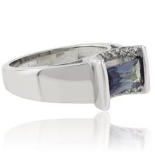 Baguette Cut Color Change Alexandrite Sterling Silver Ring