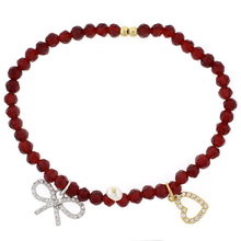 Beautiful Red Beaded Stretch Bracelet with Silver