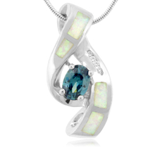 Oval Cut Alexandrite and White Opal .925 Silver Pendant