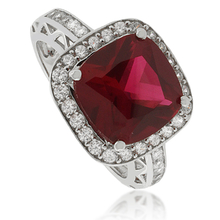 Cushion Cut Ruby .925 Silver Ring