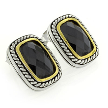Black Onyx 2 Tone Sterling Silver Earrings