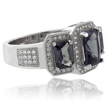Emerald-Cut 3 Alexandrite .925 Sterling Silver Ring