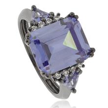 Emerald-Cut Tanzanite .925 Black Silver Ring