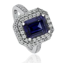 Gorgeous Emerald-Cut Tanzanite Ring in .925 Silver