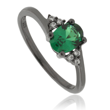 Engagement Emerald .925 Black Silver Ring
