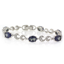 Fashion Oval Cut Alexandrite (Blue/Pruple) .925 Silver Bracelet