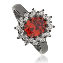 Princess Kate Fire Opal .925 Oxidized Silver Ring