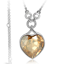 Gorgeous 18K White Gold Plated Amber Heart Swarovski Necklace