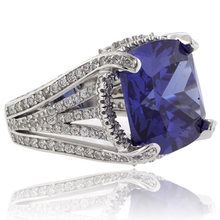 Huge Cushion Cut Tanzanite Sterling Silver Ring