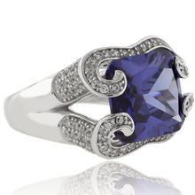 Huge Emerald Cut Tanzanite Sterling Silver Ring