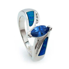 Australian Opal and Tanzanite .925 Silver Ring