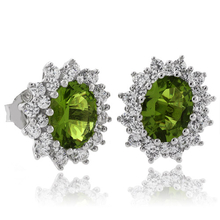 Oval Cut Peridot Framed Silver Earrings
