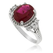 Oval Cut Red Ruby .925 Silver Ring