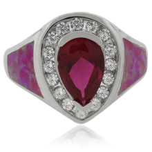 Pink Australian Opal and Ruby Silver Ring