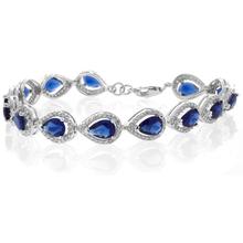 Pear Cut Blue Sapphire Stones Sterling Silver Bracelet