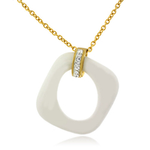 Porcelain Stainless Steel Pendant Necklace