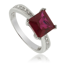 Ruby Engagement .925 Sterling Silver Ring