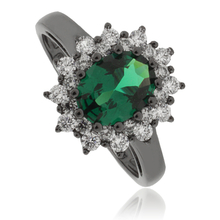 Princess Kate Emerald .925 Oxidized Silver Ring