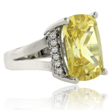 Radiant Cut Yellow Citrine Silver Ring