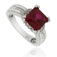 Asscher Cut Red Ruby .925 Silver Ring