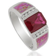 Ruby and Australian Opal Ring in .925 Silver