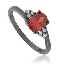 Engagement Fire Opal .925 Black Silver Ring