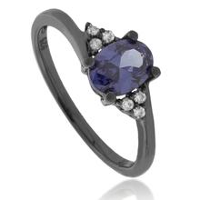 Oval Cut Solitaire Tanzanite .925 Black Silver Ring