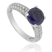 .925 Silver Ring with Round-Cut Tanzanite