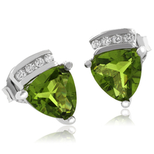 Trillion Cut Peridot .925 Silver Earrings