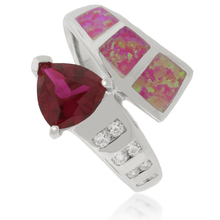 Beautiful Trillion Cut Ruby and Opal Silver Ring