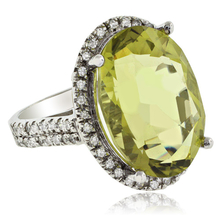 Vintage Oval Cut Natural Citrine 14K White Gold Ring
