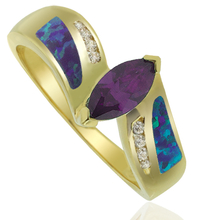 Opal and Gold Plated Ring With Elegant Tanzanite Gemstone in Marquise Cut