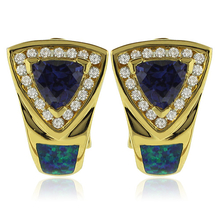 Gold Plated Earrings With Trillion Cut Tanzanite and Australian Opal.
