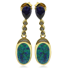 Gold Plated Earrings With Drop Cut Tanzanite and Australian Opal