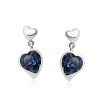 Aretes Color Azul en Forma de Corazón de Swarovski