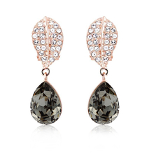Gorgeous 18k Rose Gold Plated Swarovski Earrings Black Diamond Color