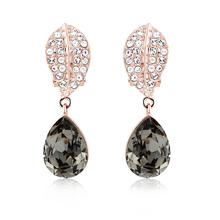 Gorgeous 18k Rose Gold Plated Swarovski Earrings Black Diamond Color